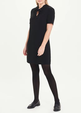 Black Short Sleeve Pussybow Shift Dress