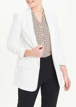 Cream Ruched Sleeve Blazer