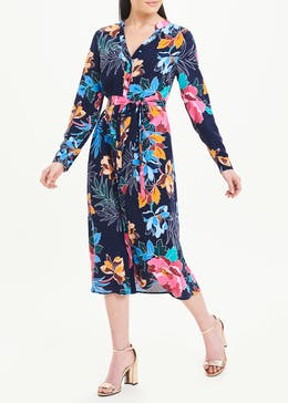 Soon Long Sleeve Floral Midi Shirt Dress