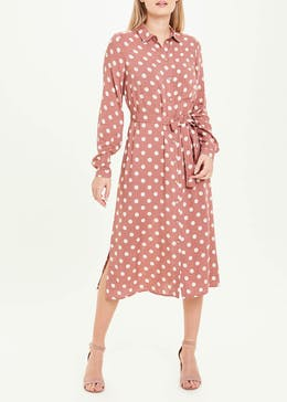 Pink Long Sleeve Polka Dot Midi Shirt Dress