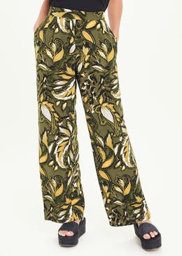 Painted Leaf Wide Leg Trousers