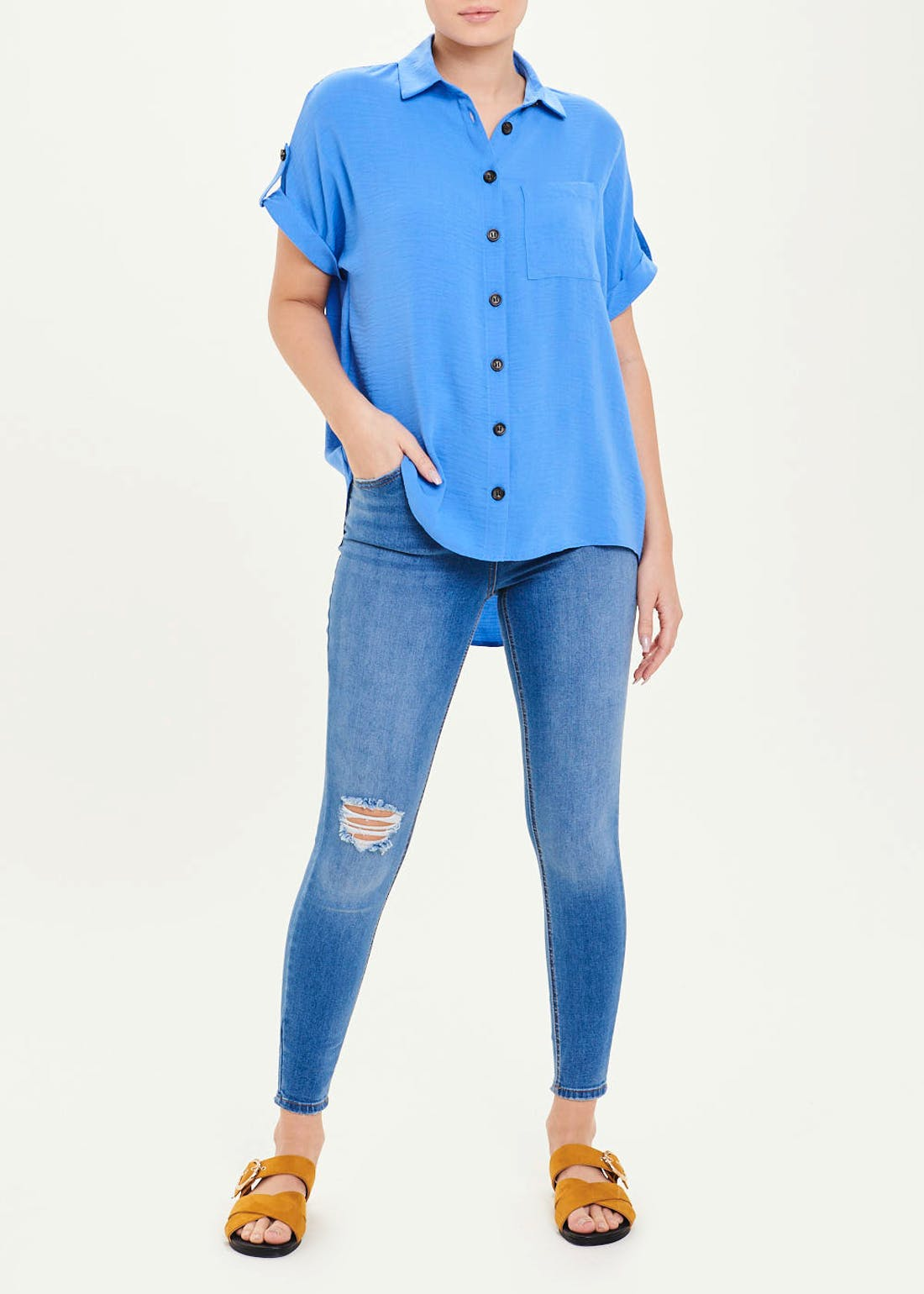 Blue Short Sleeve Button Shirt