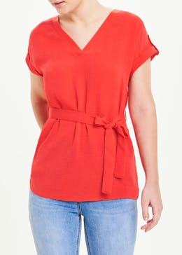 Red Short Sleeve Belted Tunic Top