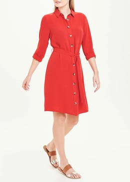 Red 3/4 Sleeve Belted Shirt Dress