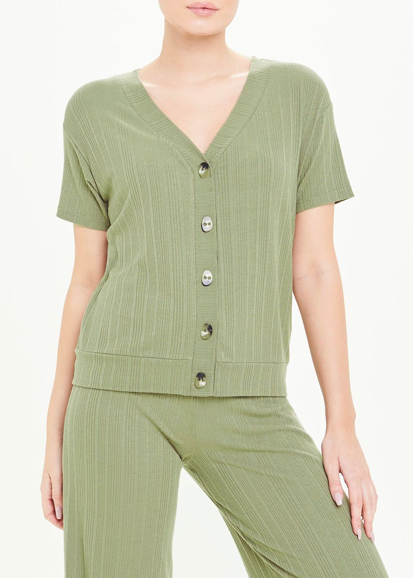 Ribbed Button Front Co-Ord T-Shirt