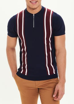 Short Sleeve Knitted Zip Polo Shirt