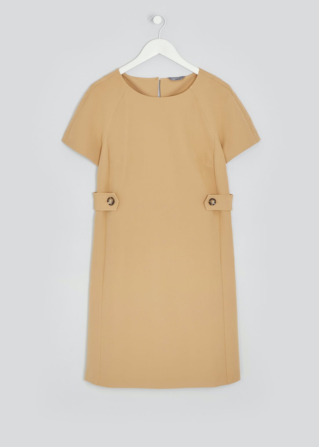 Camel Short Sleeve Side Tab Shift Dress