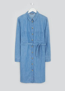 Papaya Curve Long Sleeve Denim Shirt Dress