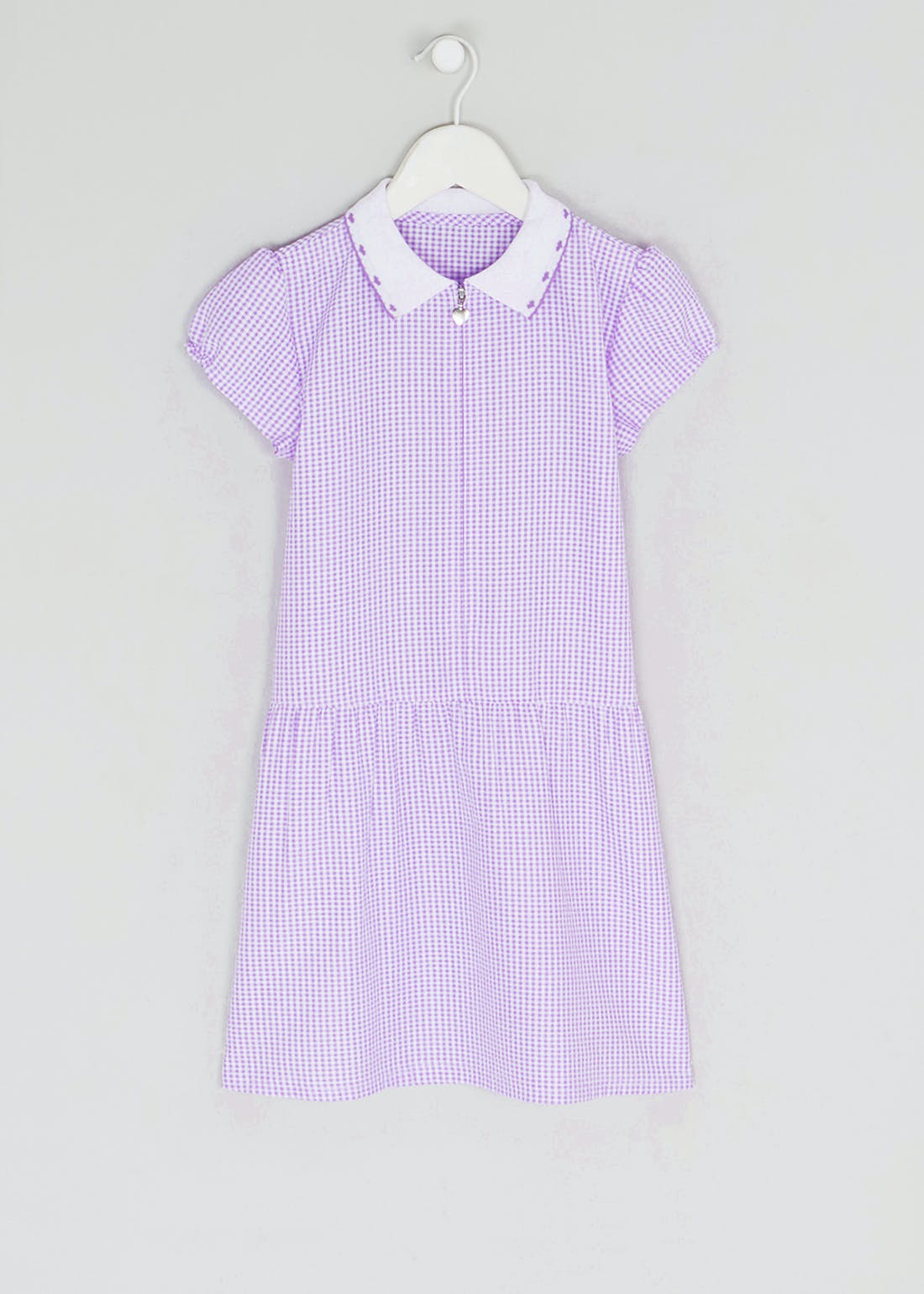 Girls Generous Fit Lilac Zip Front Gingham School Dress (3-14yrs)