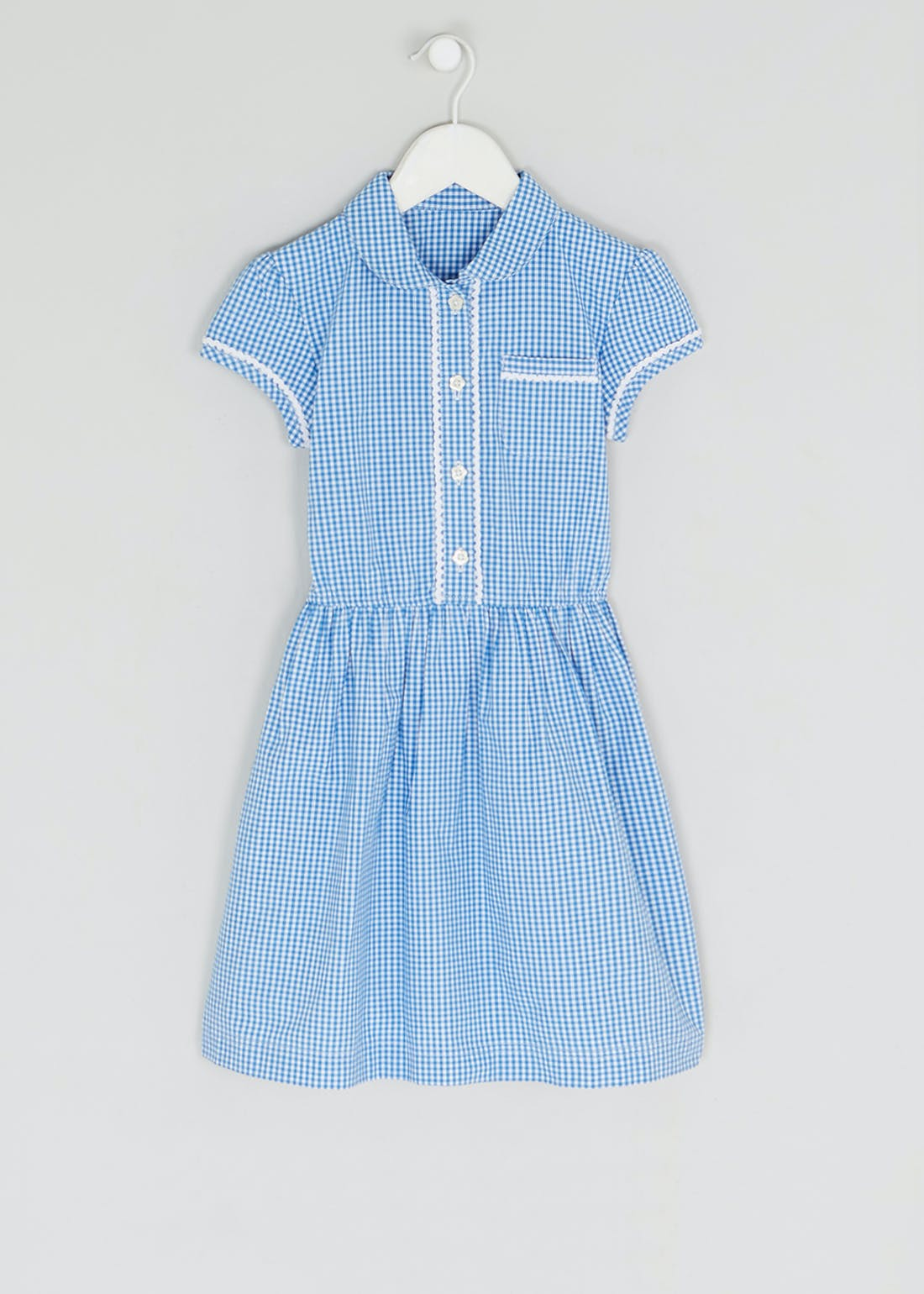 Girls Blue Gingham School Dress (3-14yrs)
