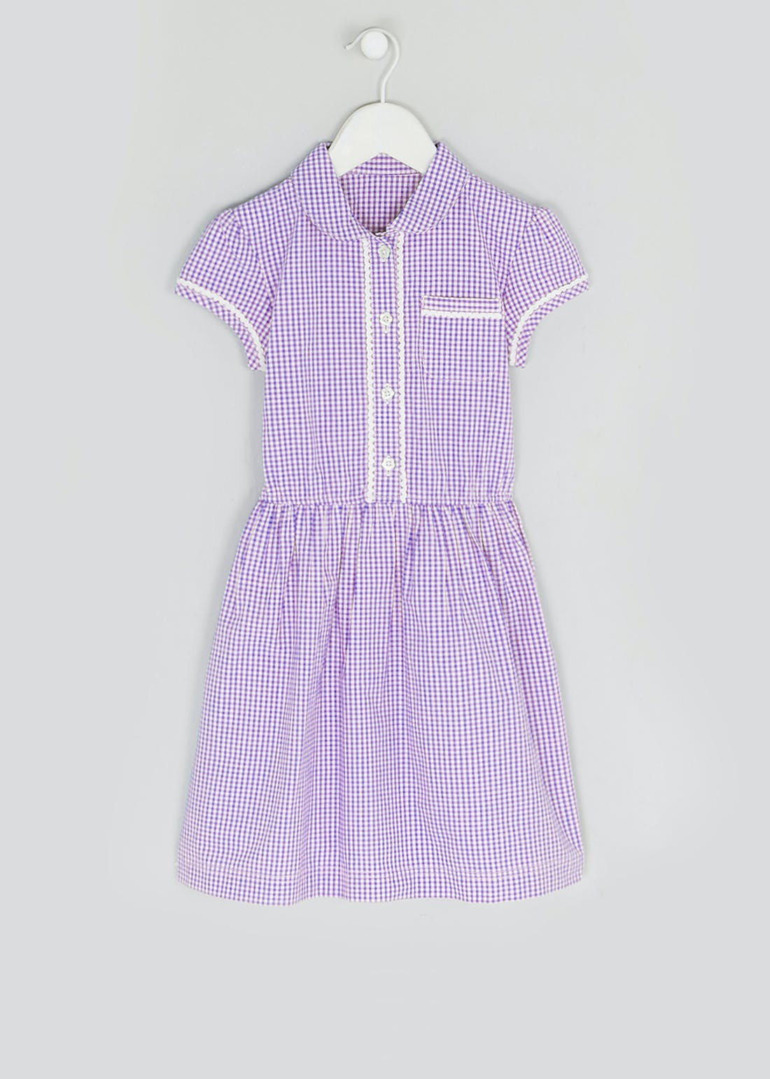 Girls Lilac Gingham School Dress (3-14yrs)