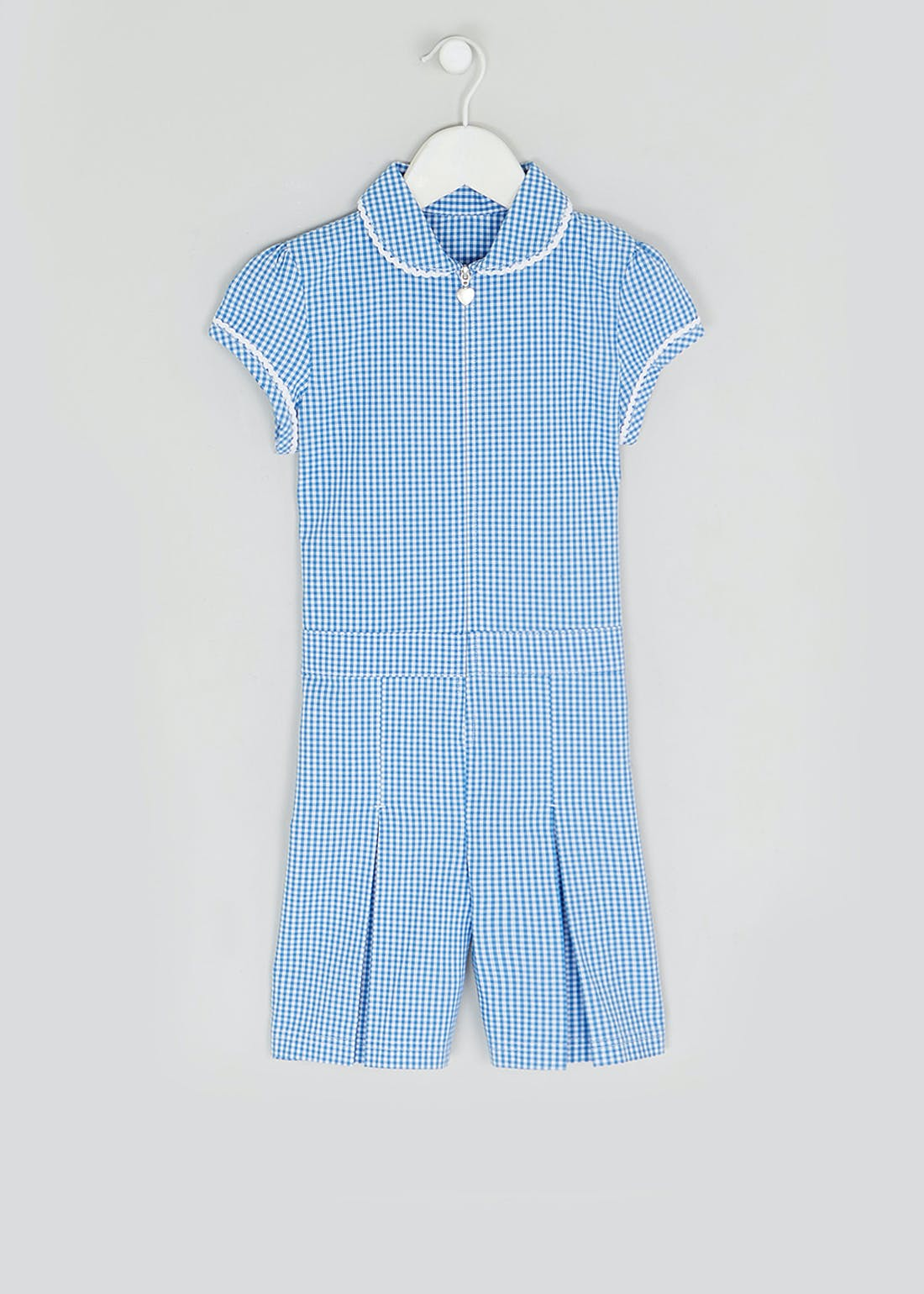 Girls Blue Gingham School Playsuit (3-13yrs)