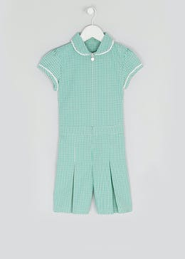 Girls Green Gingham School Playsuit (3-14yrs)
