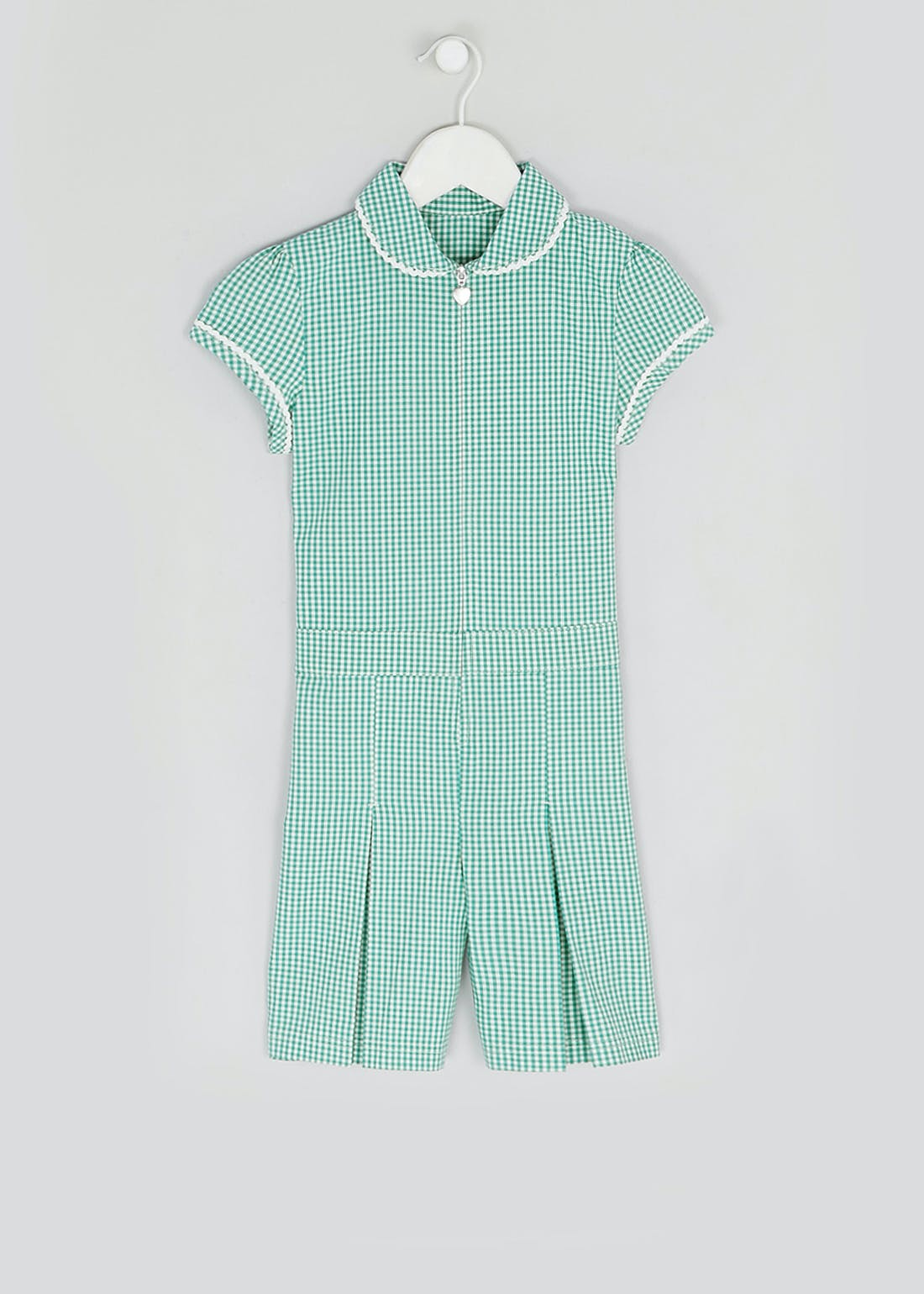 Girls Green Gingham School Playsuit (3-13yrs)