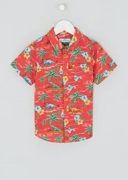 Boys Short Sleeve Tropical Dino Shirt (4-13yrs)