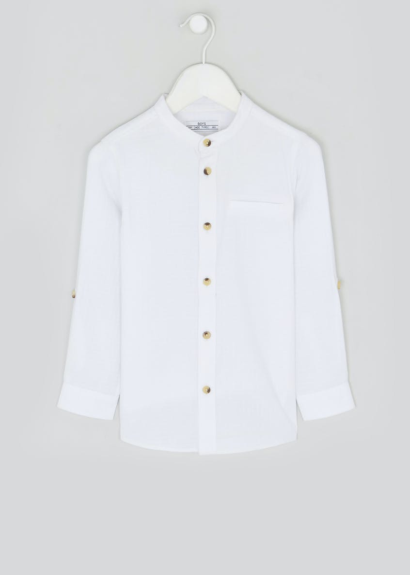 Boys Long Sleeve Grandad Collar Shirt (4-13yrs)