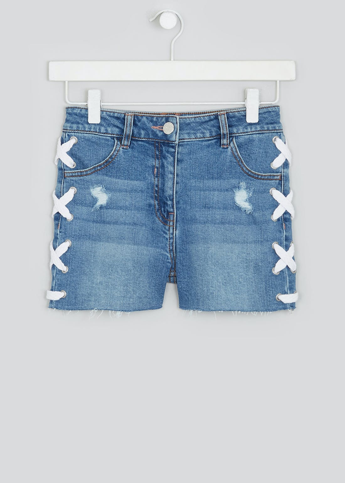 Girls Candy Couture Side Lace Denim Shorts (9-16yrs)