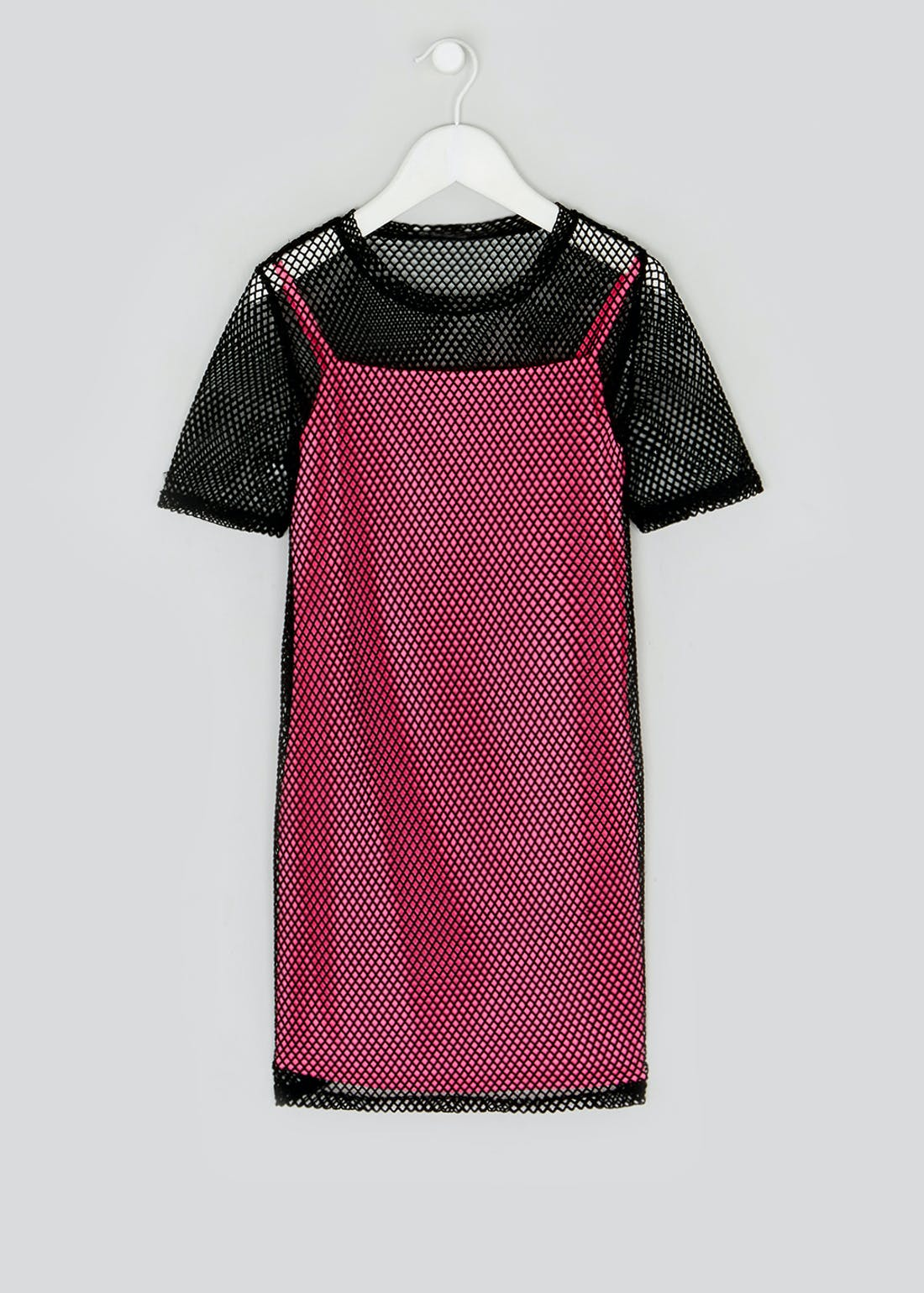 Girls Candy Couture Pink Netted Dress (9-16yrs)