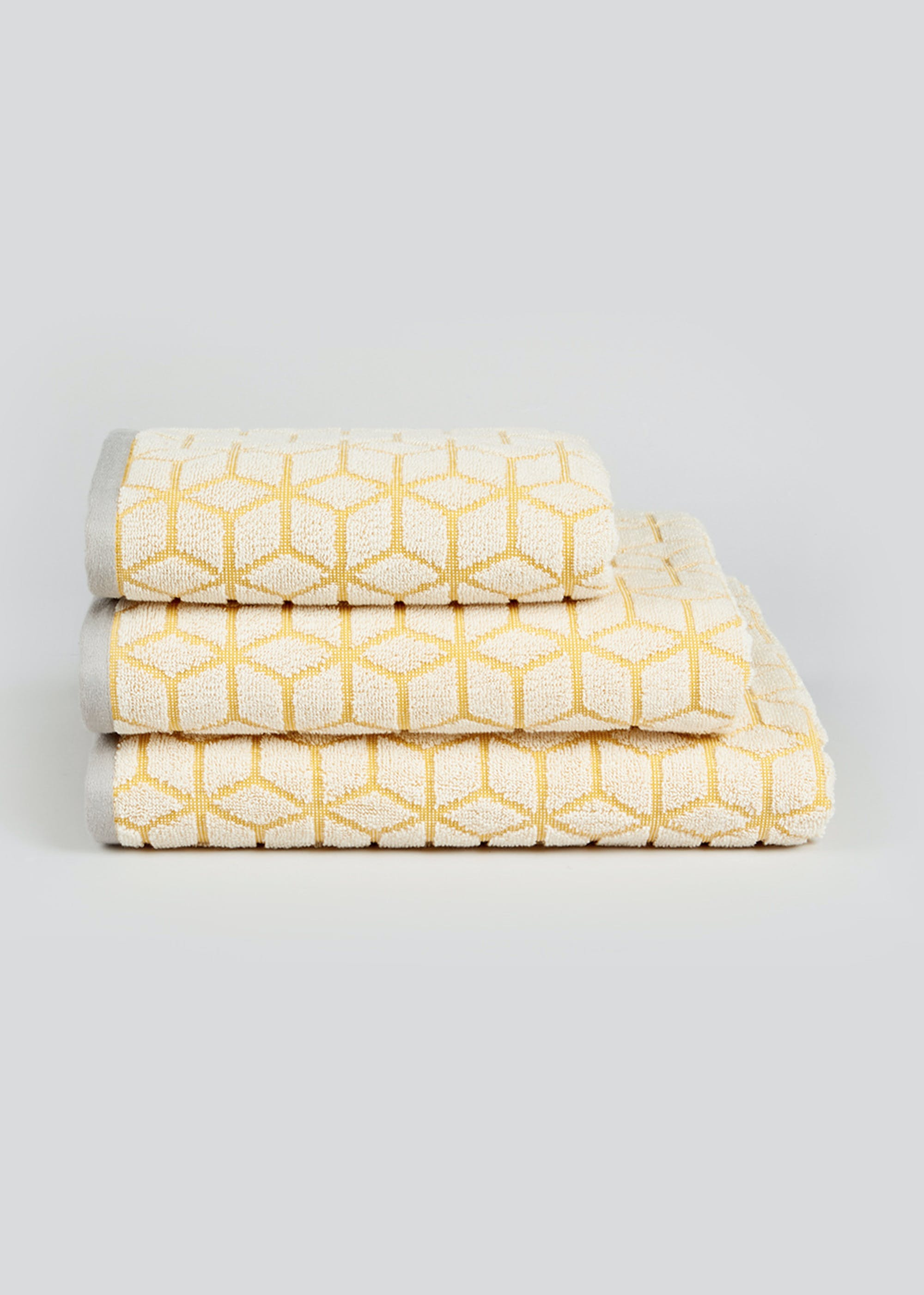 100% Cotton Geometric Towels Yellow SNbrKe