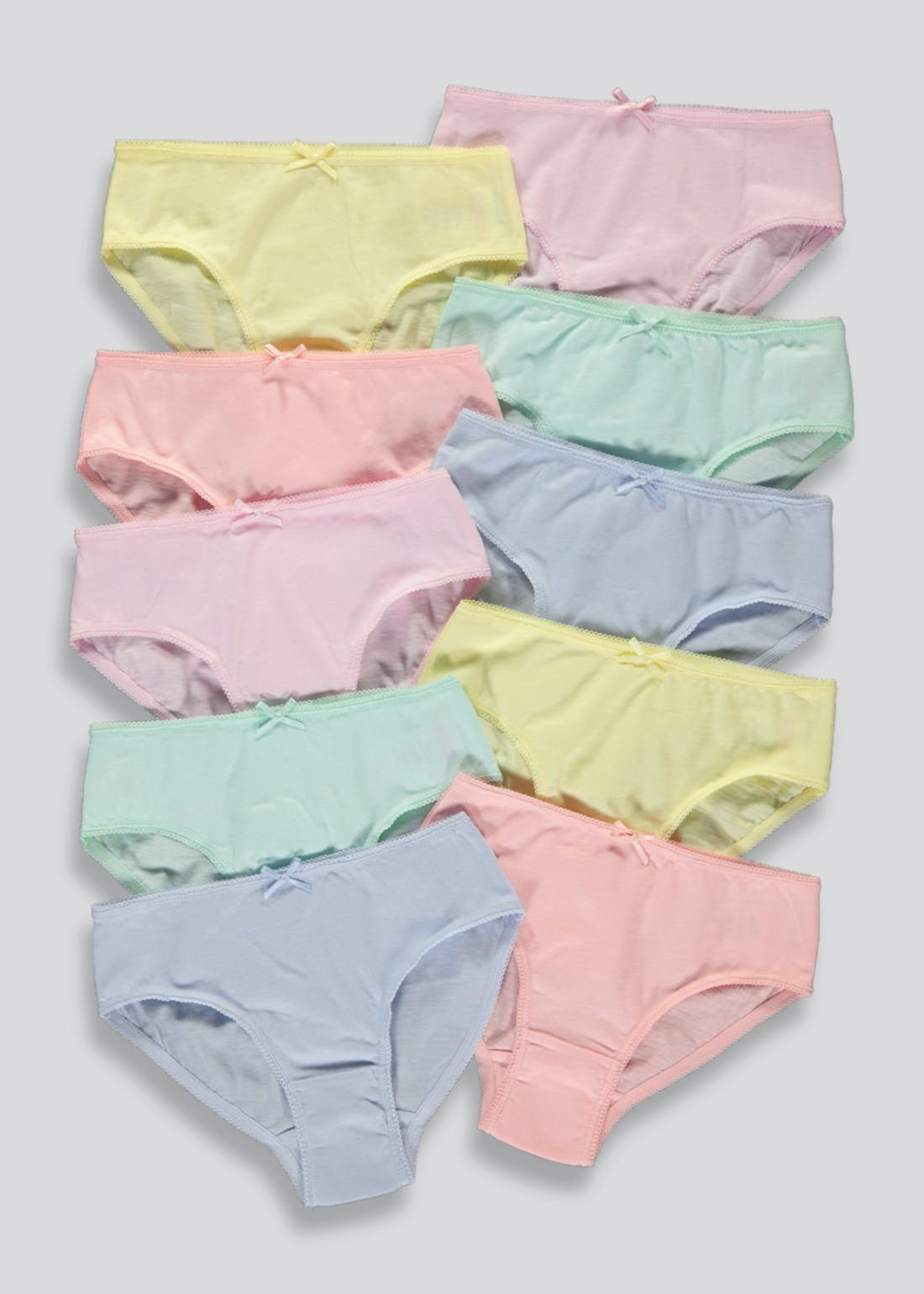 Girls 10 Pack Pastel Briefs (2-13yrs)