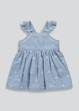 Girls Short Sleeve Denim Stripe Dress (Tiny Baby-23mths)