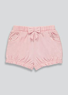 Girls Broderie Jersey Shorts (Newborn-23mths)