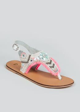 Girls White Beaded Leather Sandals (Younger 10-Older 5)