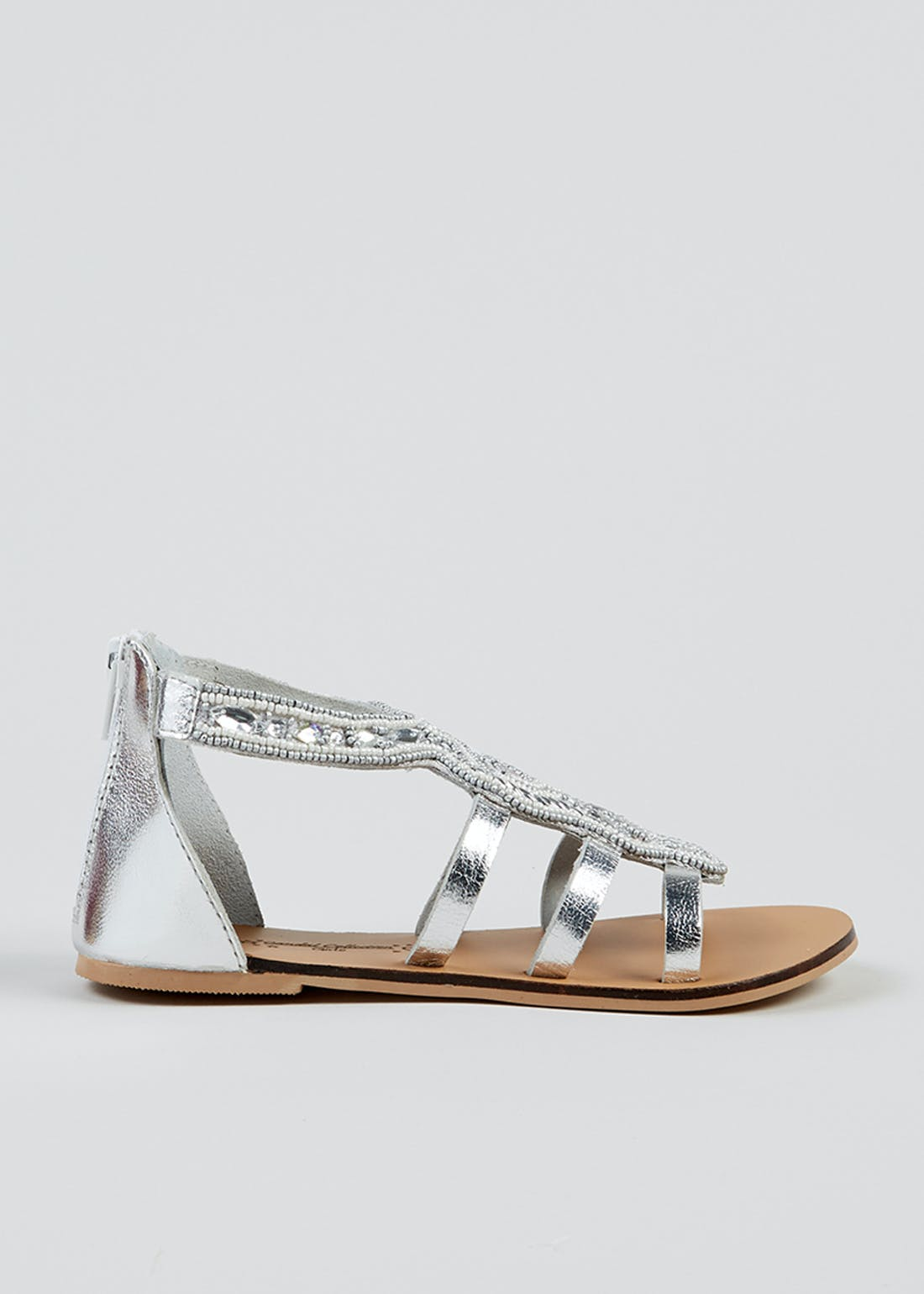 Girls Silver Beaded Leather Sandals (Younger 10-Older 5)