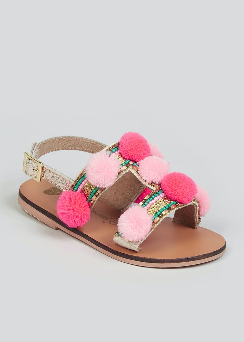 Girls Pink Pom Pom Leather Sandals (Younger 10-Older 5)