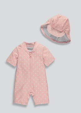 Girls Swimming Costume & Hat Set (Newborn-23mths)