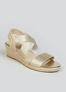 Soleflex Gold Wedge Espadrille Sandals