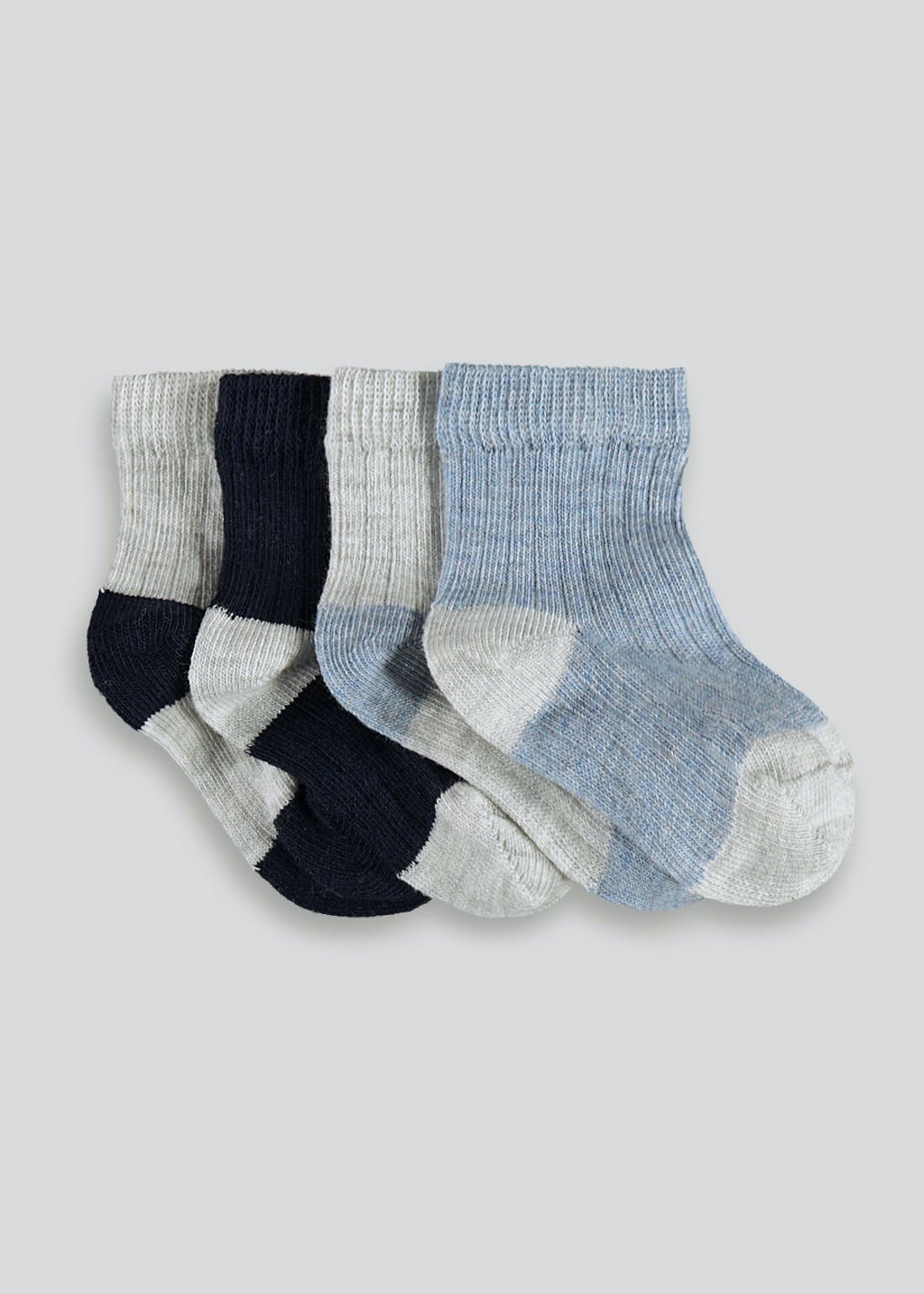 Boys 4 Pack Ribbed Socks (Newborn-8.5)