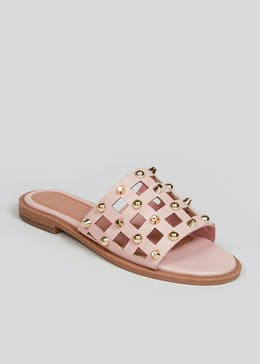 Pink Studded Caged Mules