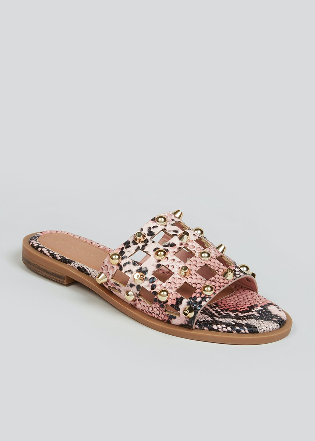Snake Print Studded Caged Mules
