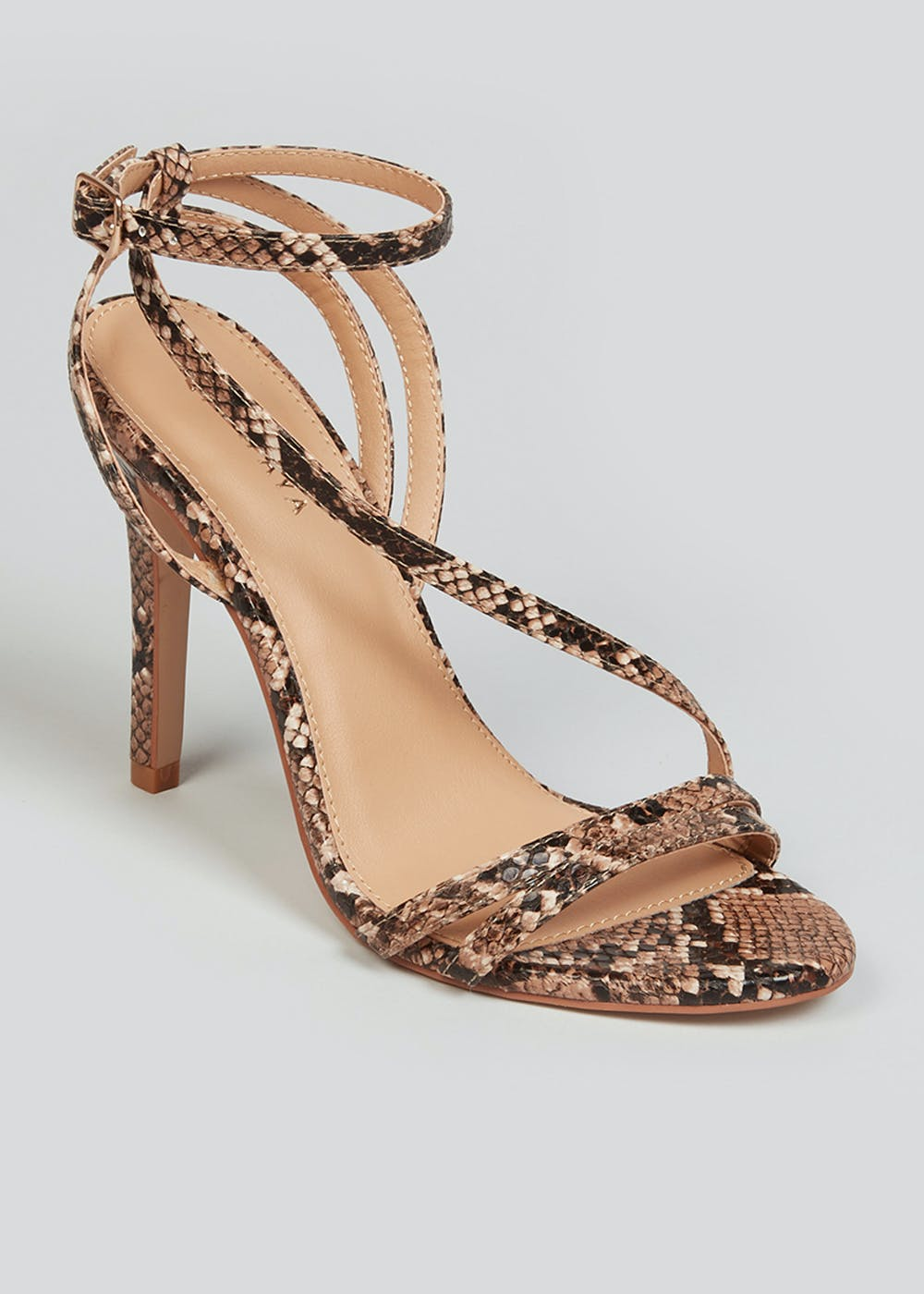 Snake Print Strappy Sandals – Brown
