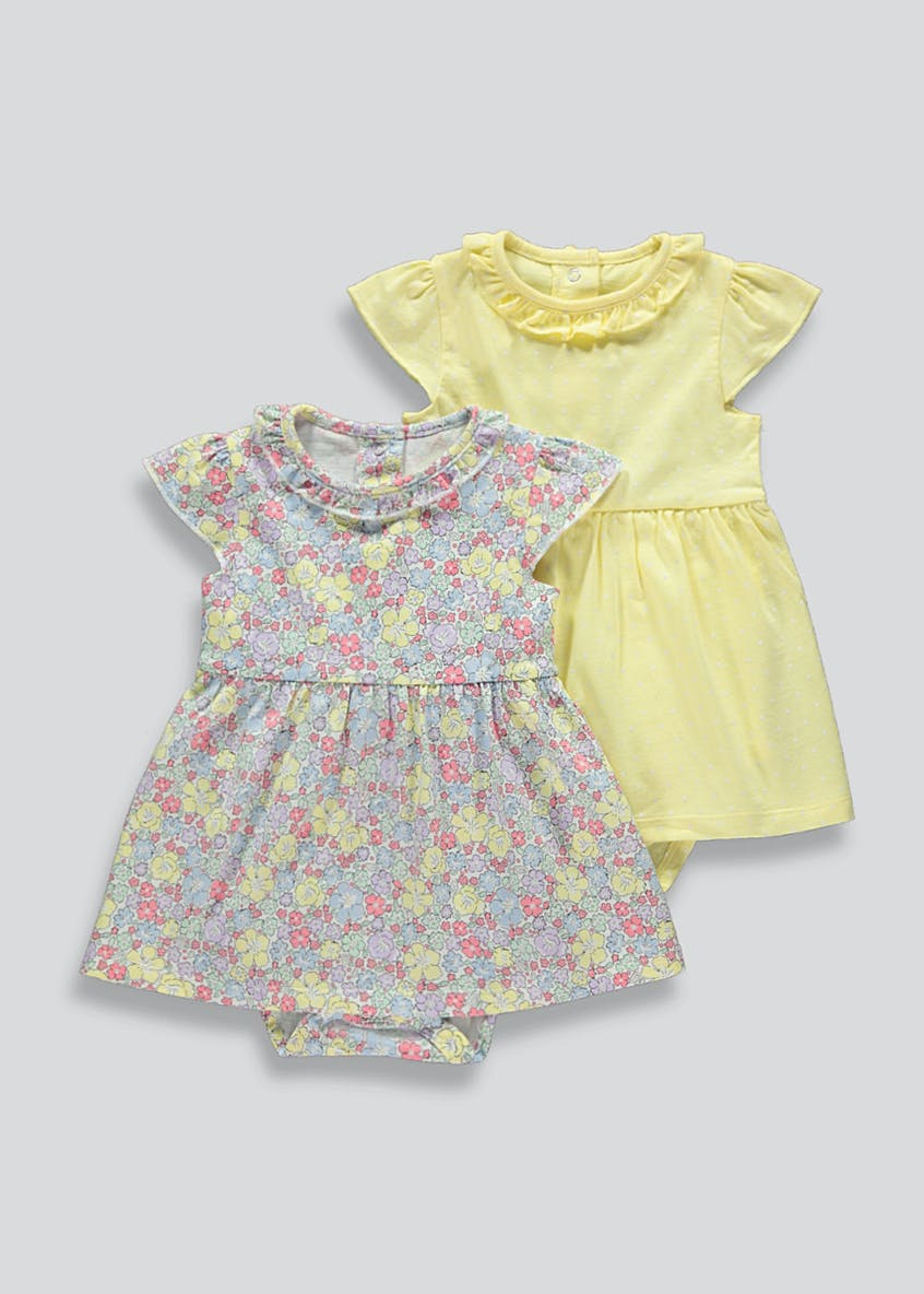 Girls 2 Pack Short Sleeve Floral Dresses (Tiny Baby-23mths)