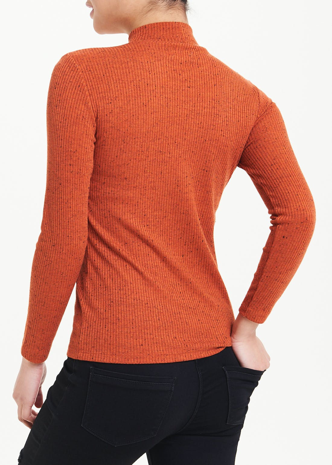 Papaya Petite Long Sleeve Ribbed Funnel Neck Top