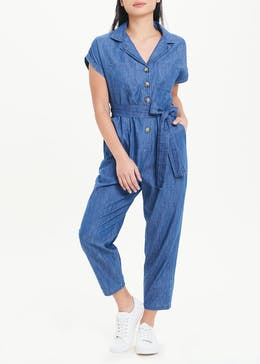 Papaya Petite Short Sleeve Denim Jumpsuit