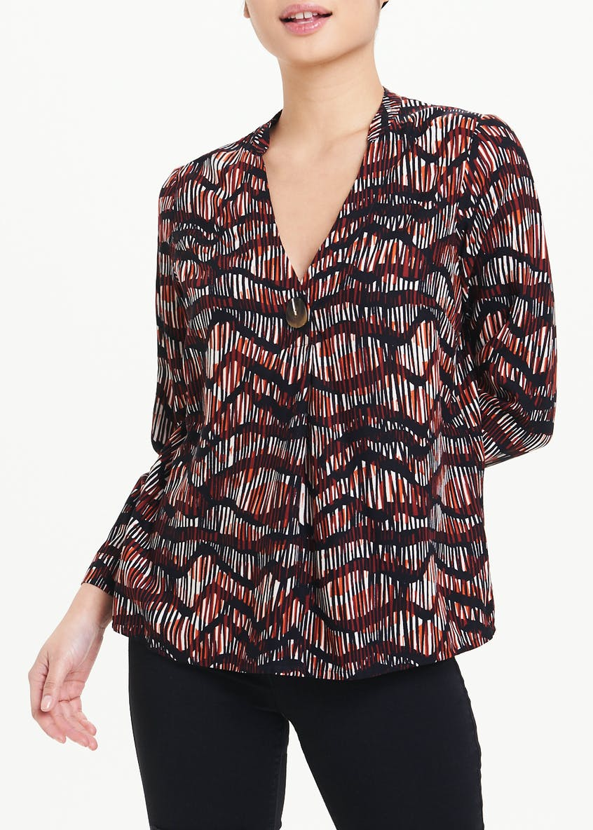 Papaya Petite Long Sleeve Sketched Wave Blouse