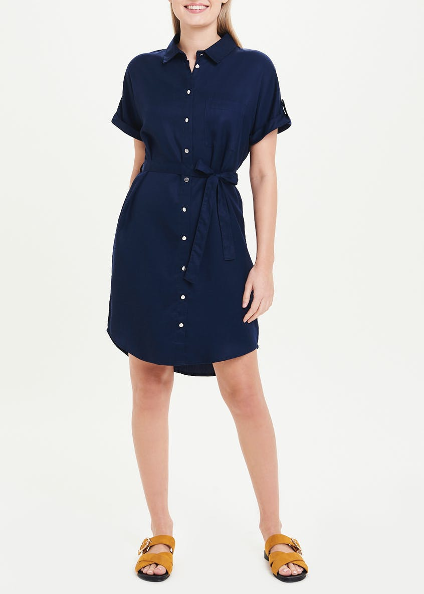 Navy Short Sleeve Tencel Shirt Dress
