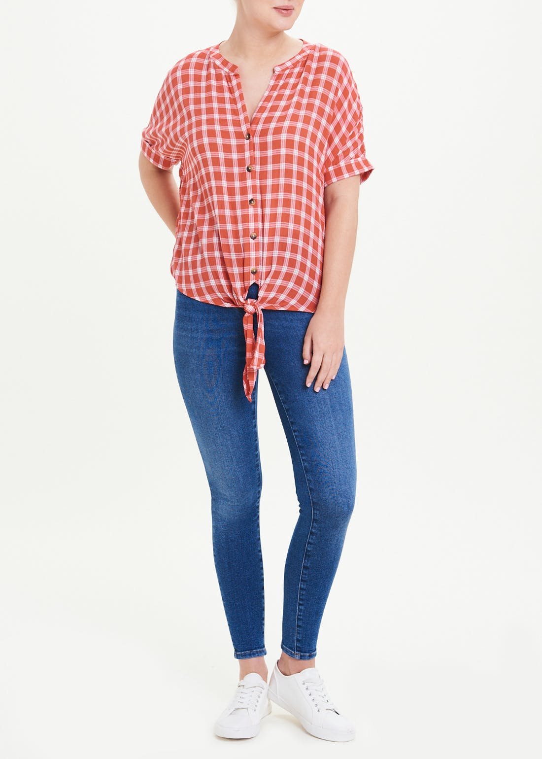 Red Short Sleeve Check Tie Front Shirt