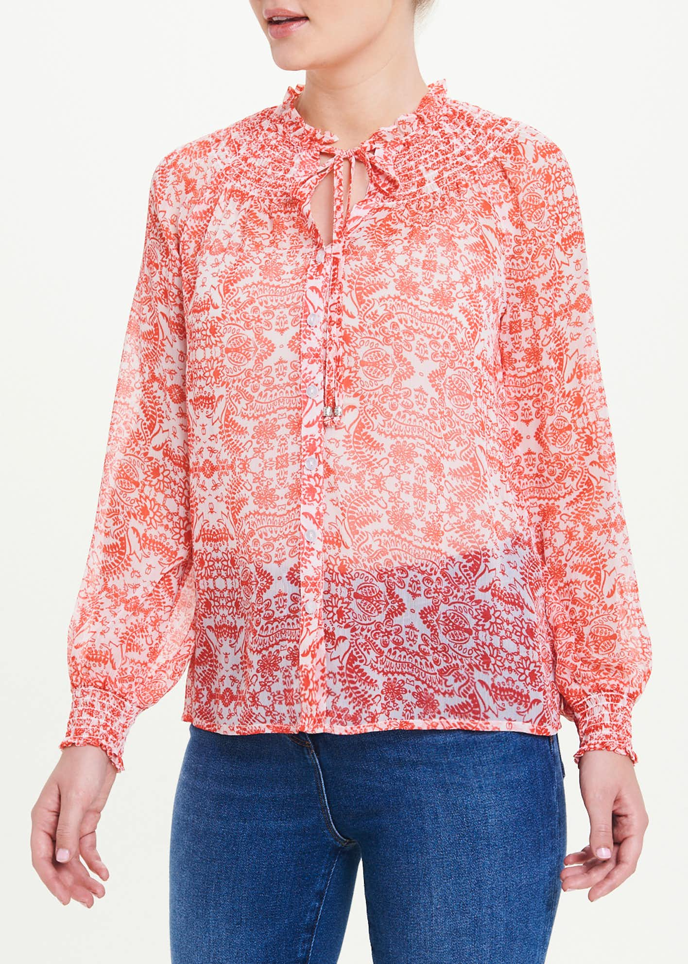 Long Sleeve Paisley Tie Neck Blouse
