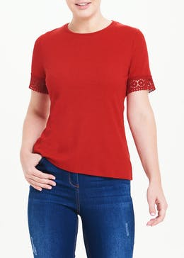 Ribbed Lace Trim T-Shirt