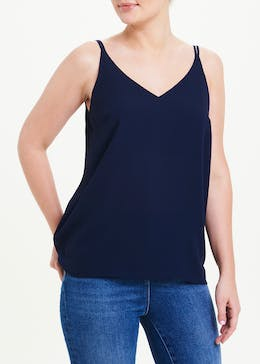 Navy Double Strap Cami Top