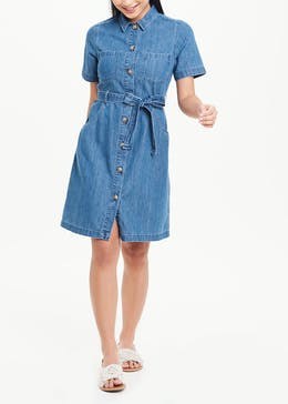 Papaya Petite Short Sleeve Denim Mini Shirt Dress