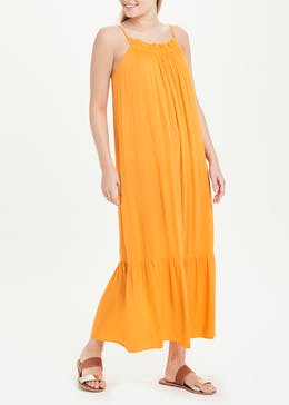 Orange Tiered Crinkle Maxi Dress