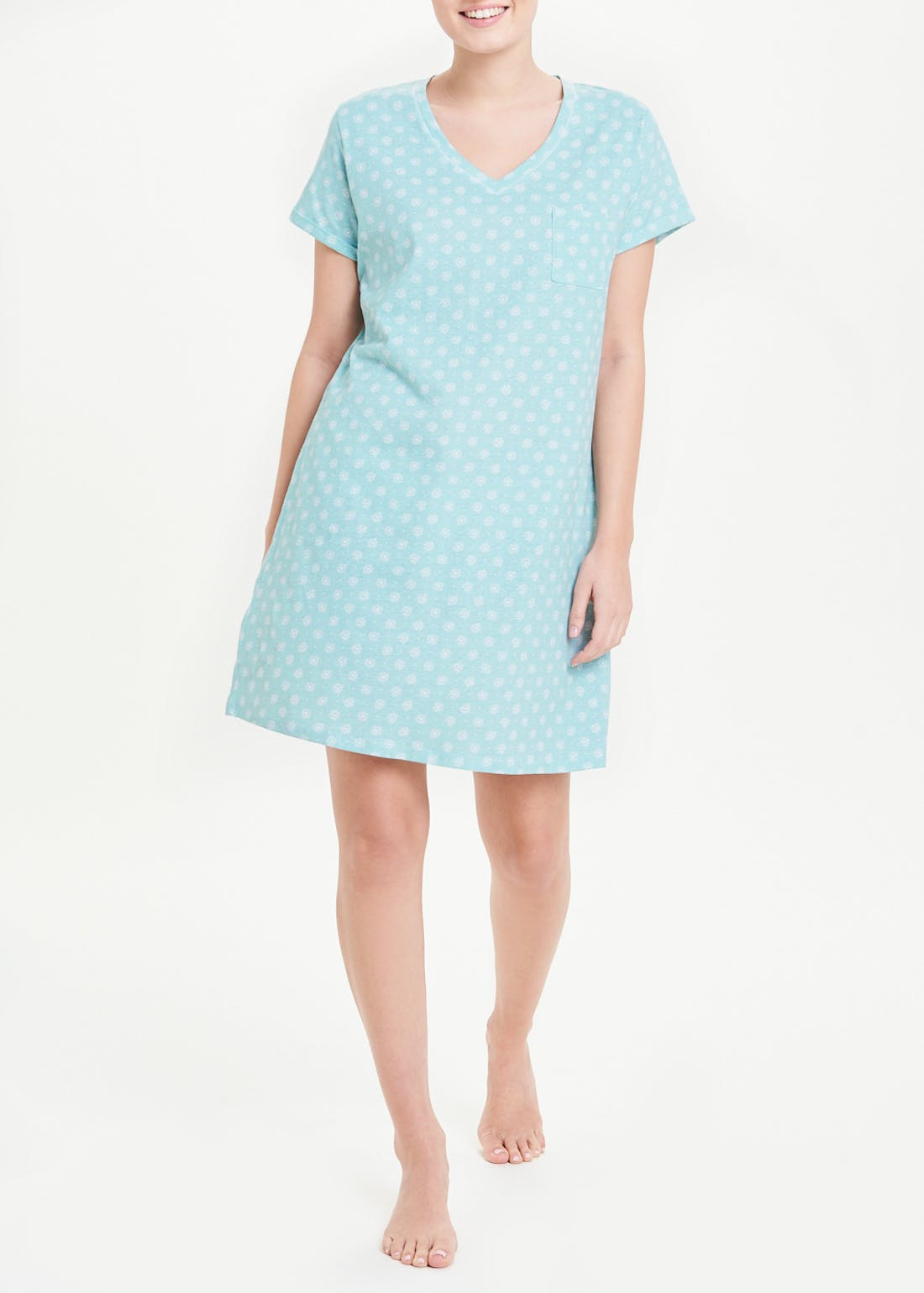 V-Neck Pocket Printed Nightie