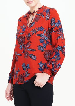 Red Long Sleeve Floral Tie Neck Blouse