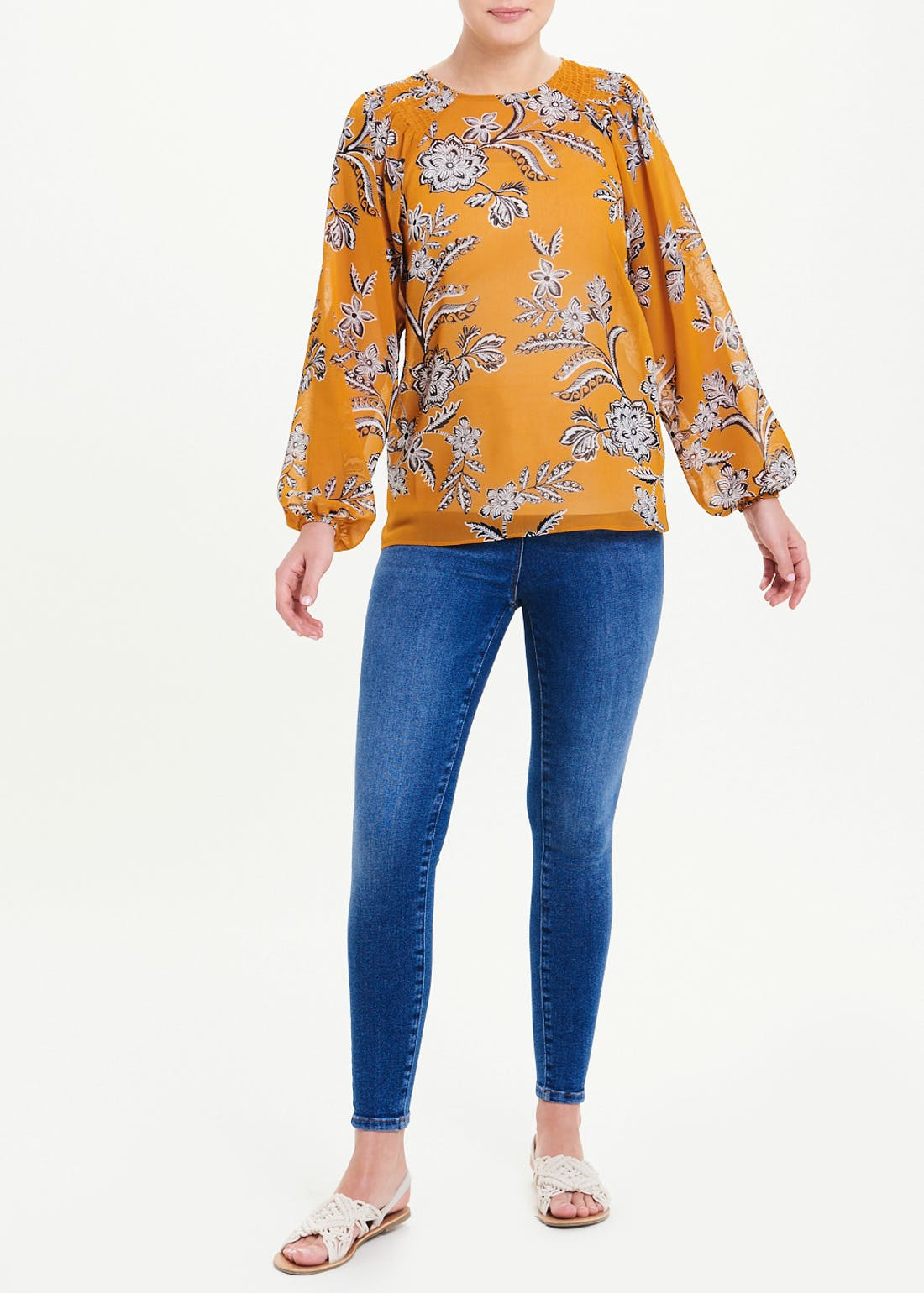 Long Sleeve Floral Sheer Blouse