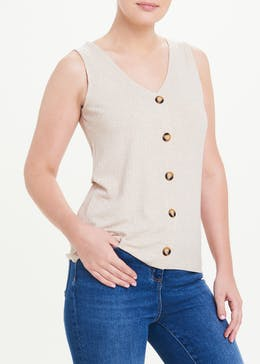 Button Up Ribbed Vest